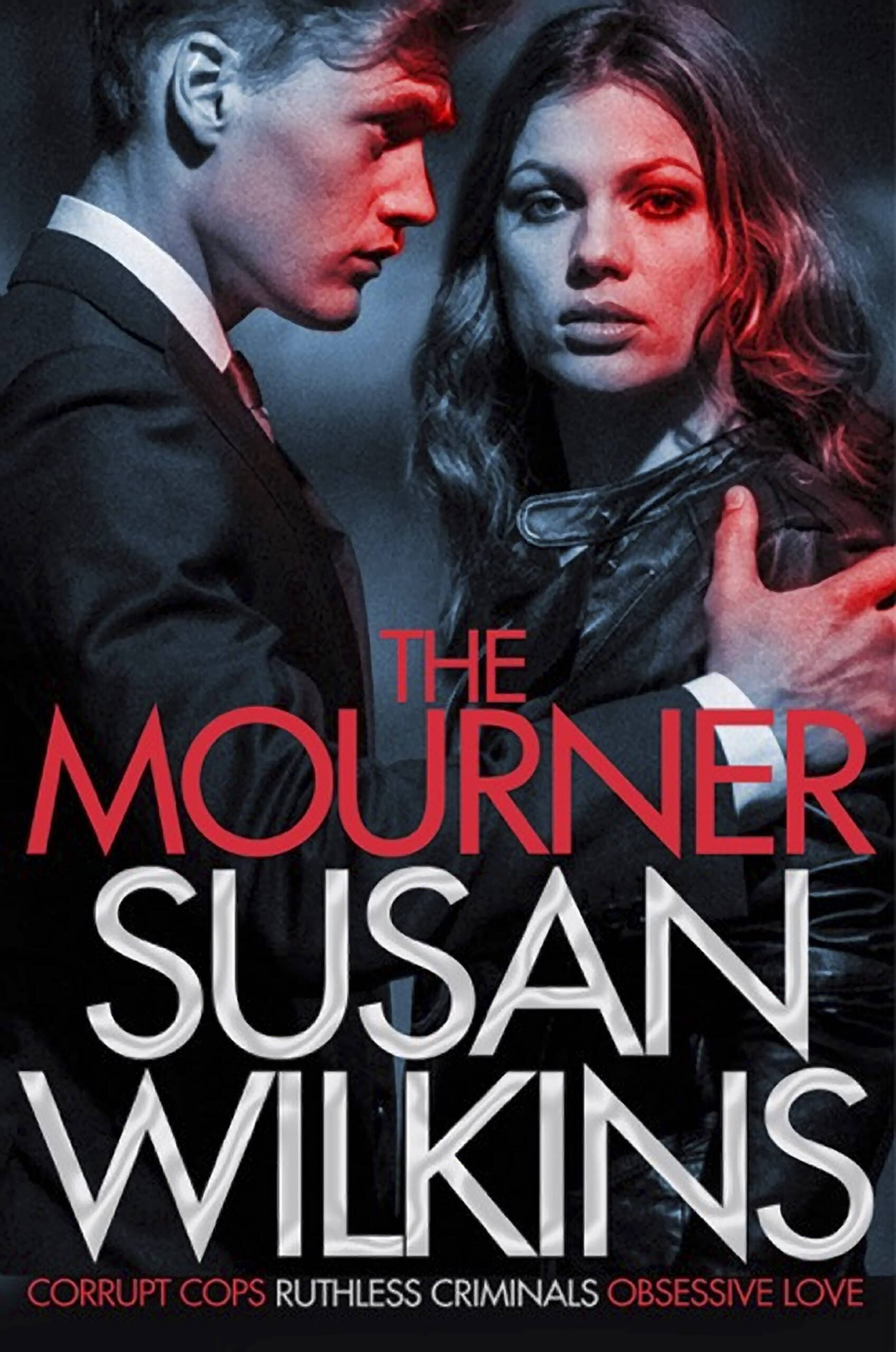 Image of book cover for The Mourner by Susan Wilkins showing a female and male figure portraying a sense of threat.