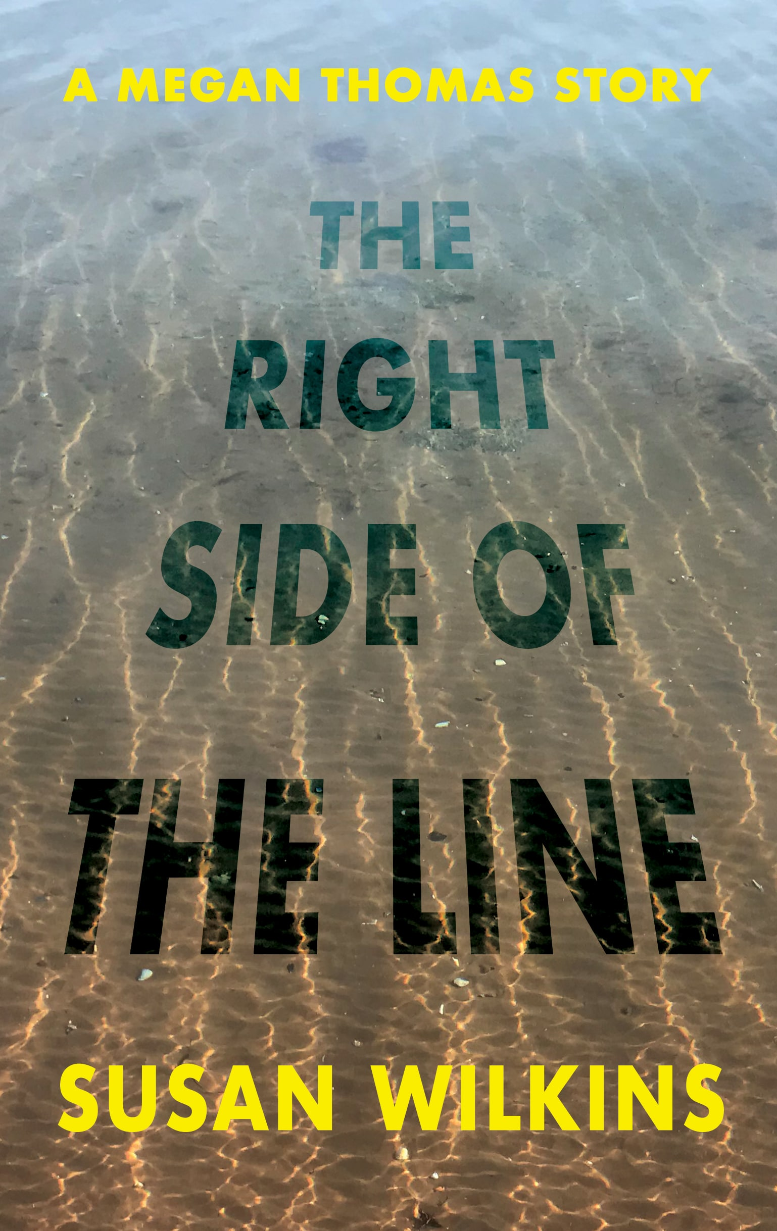 Image of book cover for The Right Side Of The Line by Susan Wilkins. Shallow sea water with the sun sparkling on the water showing the sand beneath giving a sense of going out to sea